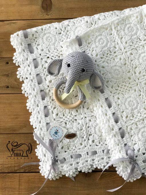 پتوبافت روباندار نوزاد (سفید)