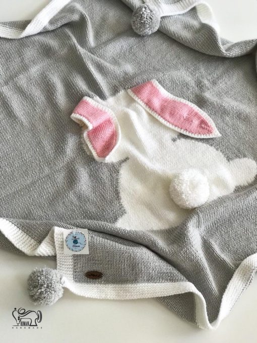 پتوبافت نوزاد طرح خرگوش سفید