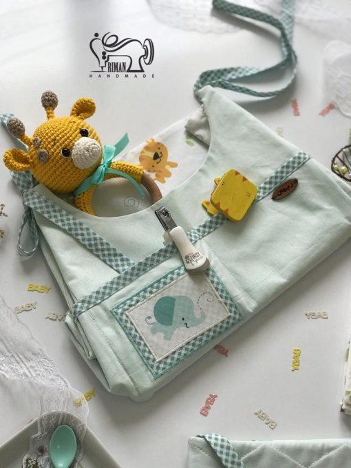 کیف آویز لوازم بهداشتی کودک طرح حیوانات سبزآبی