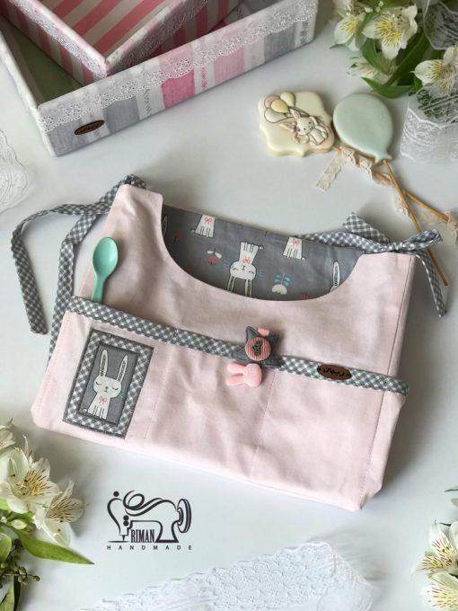 کیف آویز لوازم بهداشتی کودک طرح خرگوش صورتی